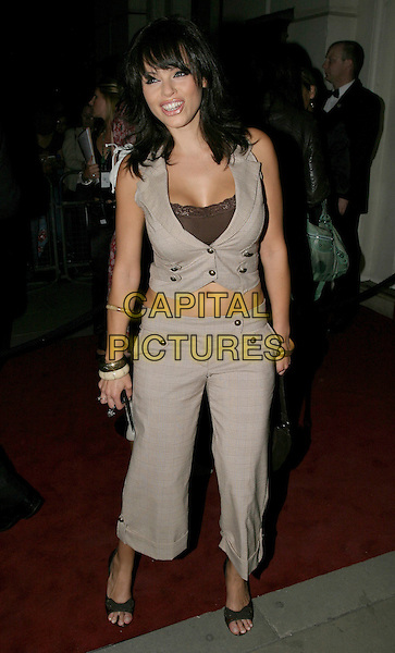JERRI BYRNE.The 8th Anual GQ Men of The Year Awards,.The Royal Opera House,.London, 6th September 2005.full length grey gray check waistcoat tummy belly stomach brown top crop trousers.www.capitalpictures.com.sales@capitalpictures.com.© Capital Pictures.