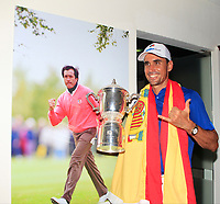 Rafa Cabrera Bello with the Eurasia Cup after Team Europe overcame Asia 14/10 at Glenmarie Golf and Country Club on the Sunday 14th January 2018.<br /> Picture:  Thos Caffrey / www.golffile.ie