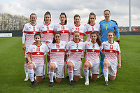 20190403  - Tubize , BELGIUM : Swiss team with Elvira Herzog (1)   Victoria Bischof (2)   Kattalin Stahl (5)   Malin Gut (6)   Stephanie Waeber (8)   Svenja Folmli (9)   Chiara Messerli (10)   Nadine Riesen (13)   Luna Lemperiere (16)   Alissia piperata (18)   Seraina Piubel (20)   pictured during the soccer match between the women under 19 teams of Belgium and Switzerland , on the first matchday in group 2 of the UEFA Women Under19 Elite rounds in Tubize , Belgium. Wednesday 3 th April 2019 . PHOTO DIRK VUYLSTEKE / Sportpix.be