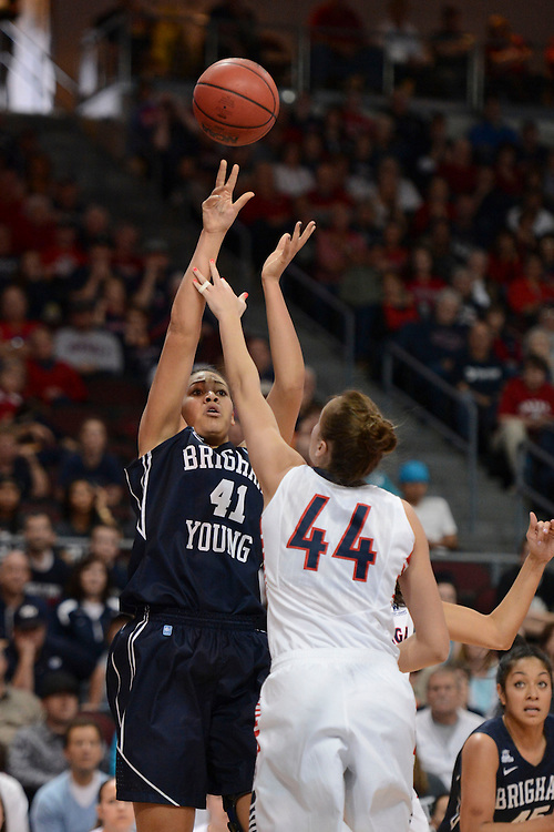 March 9, 2013; Las Vegas, NV, USA; Brigham Young Cougars forward Morgan Bailey (41) shoots against Gonzaga Bulldogs center Shelby Cheslek (44) during the second half of the WCC Basketball Championships at Orleans Arena.
