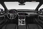 Stock photo of straight dashboard view of a 2019 Audi A6 Design 4 Door Sedan