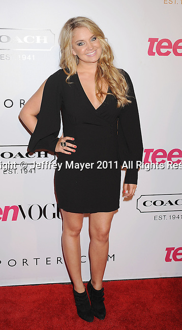 HOLLYWOOD, CA - SEPTEMBER 23: Tiffany Thornton arrives at the 9th Annual Teen Vogue Young Hollywood Party at Paramount Studios on September 23, 2011 in Hollywood, California.
