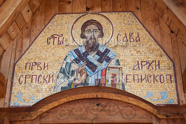 Mosaic of St. Sava over the entrance, St. Sava church in the ethnic village of Drvengrad (timber town) at Mokra Gora, Serbia