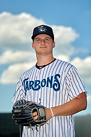 Tampa Tarpons pitcher Clarke Schmidt (32) poses for a photo before a Florida State League game against the Daytona Tortugas on May 17, 2019 at George M. Steinbrenner Field in Tampa, Florida.  Daytona defeated Tampa 8-6.  (Mike Janes/Four Seam Images)