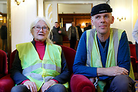 Patricia Saint-Georges and Yvan Yonnet, representatives of French Yellow Jackets movement<br /> Rome January 12th 2019. The representatives of French movement 'Yellow Jackets' meet the representatives of Italian movement 'Forconi'<br /> Foto Samantha Zucchi Insidefoto
