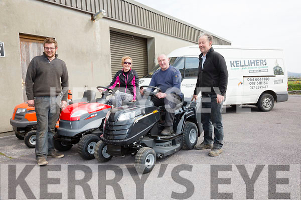 Paudie & Tom Kelliher showing some of their new Ride-on Lawn mowers to Margaret Daly & Kevin McCarthy at their new Showrooms in Reenrusheen, Cahersiveen.