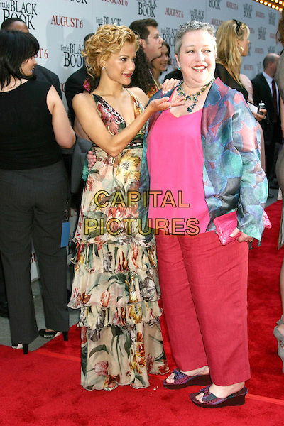 "BRITTANY MURPHY & KATHY BATES.""Little Black Book"" Premiere,. Ziegfeld Theatre, New York City, .July 21th 2004..full length red trousers fushia pink top long green floral print dress layered ruffle gesture.Ref: IW.www.capitalpictures.com.sales@capitalpictures.com.©Capital Pictures."