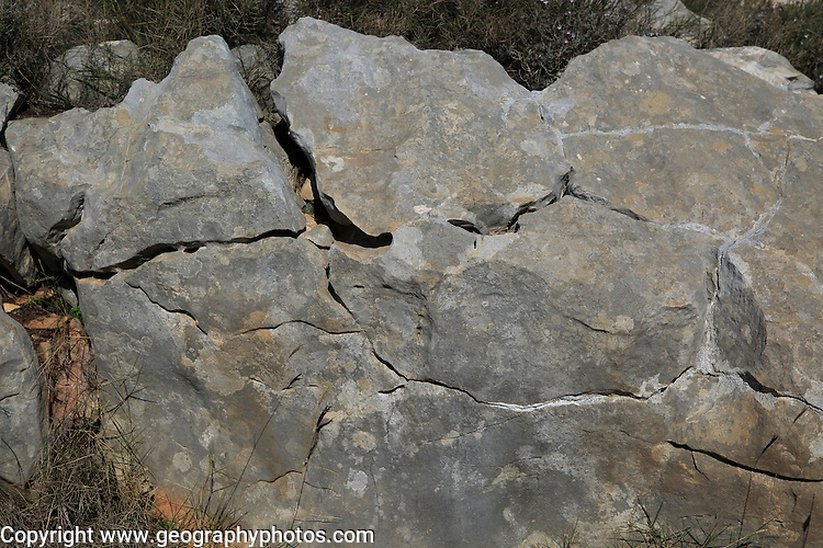 Weathering of carboniferous limestone joints and bedding planes, Marina Alta, Alicante province, Spain