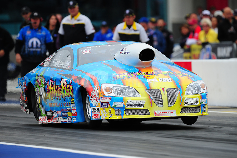 Sept. 16, 2011; Concord, NC, USA: NHRA pro stock  driver Greg Stanfield during qualifying for the O'Reilly Auto Parts Nationals at zMax Dragway. Mandatory Credit: Mark J. Rebilas-US PRESSWIRE