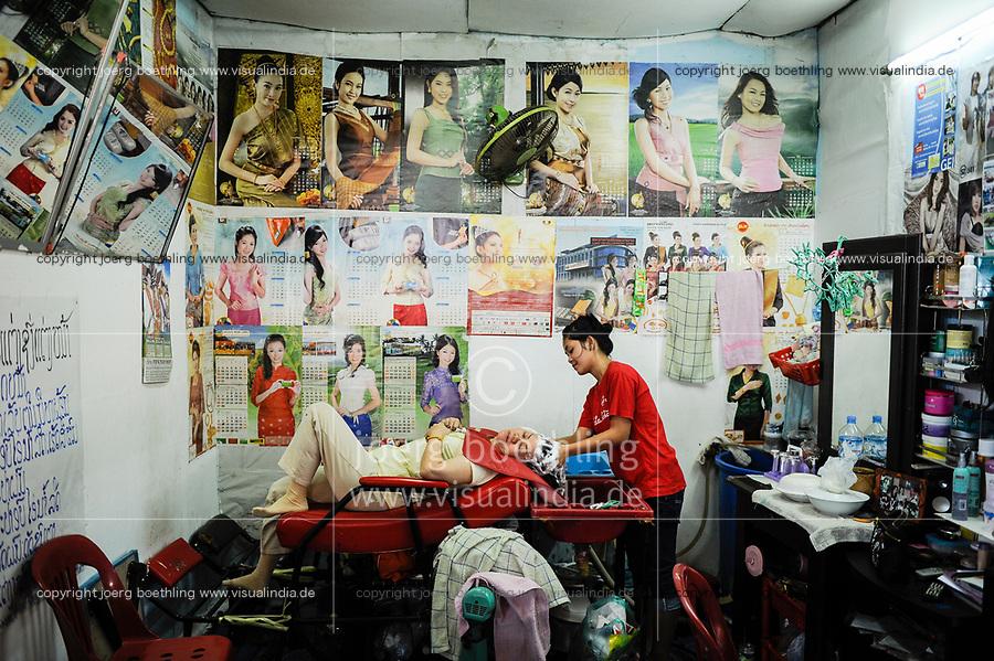 LAO PDR Vientiane, beauty parlour in market Talat Khua Din / Laos Vientiane , Schoenheitssalon im Markt Talat Khua Din