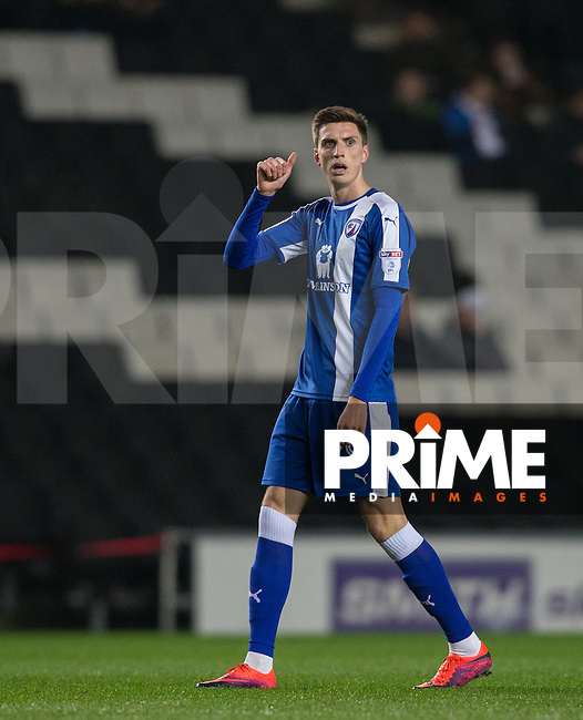 Jake Beesley of Chesterfield gives thumb up during the Sky Bet League 1 match between MK Dons and Chesterfield at stadium:mk, Milton Keynes, England on 22 November 2016. Photo by Andy Rowland.