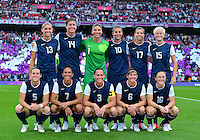 August 09, 2012: USA Women's Soccer team members Alex Morgan, Abby Wambach, Hope Solo, Carli Lloyd,  Tobin Heath, Megan Rapinoe, Kelley O'Hara, Shannon Boxx, Christie Rampone, Amy Le Peilbet, Rachel Buehler pose for a photograph before Women's Football Final match at the Wembley Stadium on day thirteen in Wembley, England. USA defeat Japan 2-1 to win it's third consecutive Olympic gold medal in women's soccer. ..