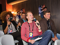 Arena Loire,  Trélazé,  France, 13 April, 2016, Semifinal FedCup, France-Netherlands, Press-conference Dutch team, Tennis.nl reporter Abe Kuijl asking questions<br /> Photo: Henk Koster/Tennisimages
