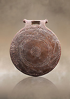 Cucladic Syros style decorated terra cotta frying pan . Early Cycladic Period II, (2800-2300 BC), Museum of Cycladic Art Athens,  cat no 971