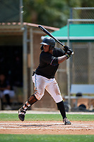 GCL Marlins Omar Lebron (30) at bat during a Gulf Coast League game against the GCL Astros on August 8, 2019 at the Roger Dean Chevrolet Stadium Complex in Jupiter, Florida.  GCL Marlins defeated GCL Astros 5-4.  (Mike Janes/Four Seam Images)