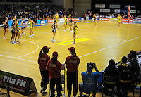 Fans watch the ANZ Netball Championship match between the Central Pulse and Waikato Bay Of Plenty Magic at TSB Bank Arena, Wellington, New Zealand on Monday, 30 March 2015. Photo: Dave Lintott / lintottphoto.co.nz