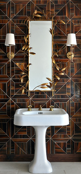 Truman, a jewel glass waterjet mosaic shown in Tortoise Shell, is part of the Parquet Line by New Ravenna.