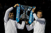 [2] D Nestor (CAN) / N Zimonjic (SRB) defeated [3] M Bhupathi (IND) / M Mirnyi (BLR) 76(6) 64 in the finals of the doubles..International Tennis - Barclays ATP World Tour Finals - O2 Arena - London - Day 8 - Sun 28 Nov 2010..© Frey - AMN Images, Level 1, Barry House, 20-22 Worple Road, London, SW19 4DH.Tel - +44 208 947 0100.Email - Mfrey@advantagemedianet.com.Web - www.amnimages.photshelter.com