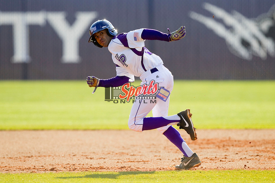 Willie Medina (3) of the High Point Panthers takes off for second base against the Ohio Bobcats at Willard Stadium on March 6, 2013 in High Point, North Carolina.  The Panthers defeated the Bobcats 4-1.  (Brian Westerholt/Sports On Film)