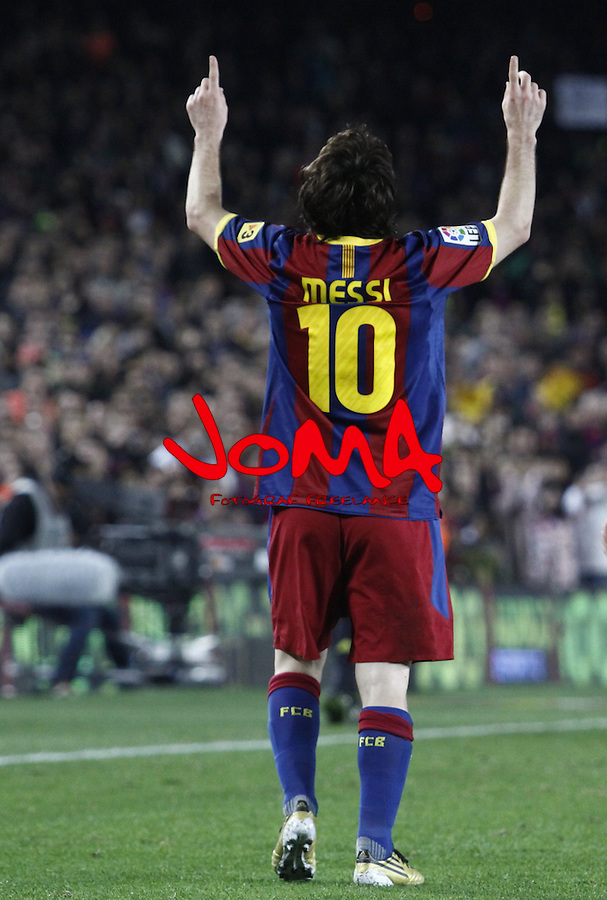 2010 Spain, Barcelona, La Liga, FC Barcelona in  2nd position in Liga beat  Villareal 3th, 3 - 1 and put pressure to Real Madrid on top.. Messi celebration after score him second goal