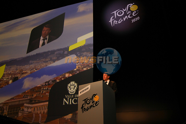 Christian Estrosi Mayor of Nice speaks at the Tour de France 2020 route presentation held in the Palais des Congrès de Paris (Porte Maillot), Paris, France. 15th October 2019.<br /> Picture: ASO/Thomas Colpaert | Cyclefile<br /> <br /> All photos usage must carry mandatory copyright credit (© Cyclefile | ASO/Thomas Colpaert)