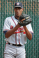 Pitcher Ronan Pacheco (32) of the Rome Braves, Class A affiliate of the Atlanta Braves, prior to the first game of a doubleheader against the Greenville Drive on August 15, 2011, at Fluor Field at the West End in Greenville, South Carolina. Rome defeated Greenville, 6-3. (Tom Priddy/Four Seam Images)