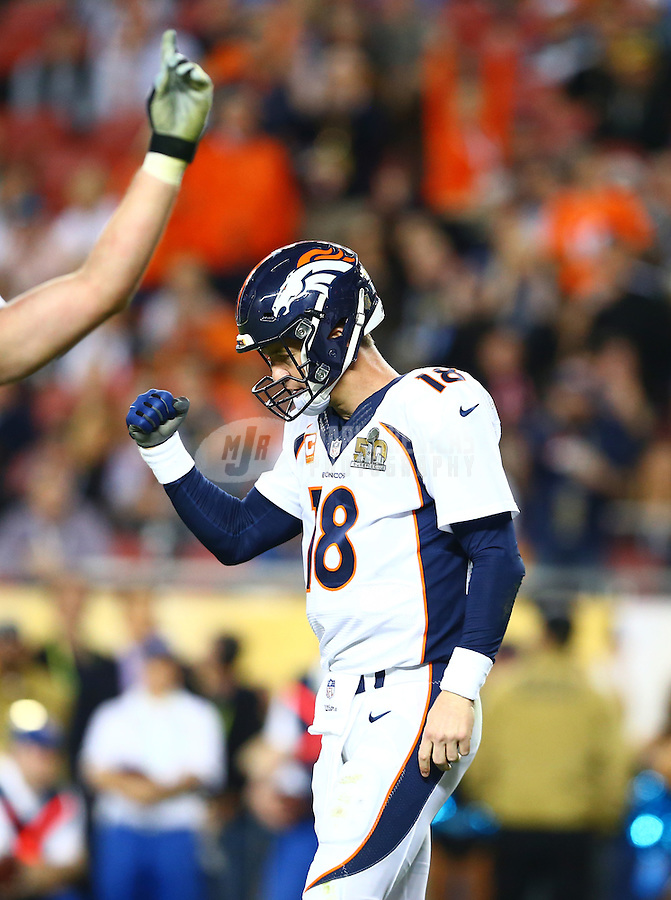 Feb 7, 2016; Santa Clara, CA, USA; Denver Broncos quarterback Peyton Manning (18) celebrates after a two-point conversion against the Carolina Panthers in the fourth quarter in Super Bowl 50 at Levi's Stadium. It was his final pass of the game. Mandatory Credit: Mark J. Rebilas-USA TODAY Sports