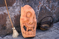 Grotesque wooden mask in Patzcuaro, Michoacan, Mexico