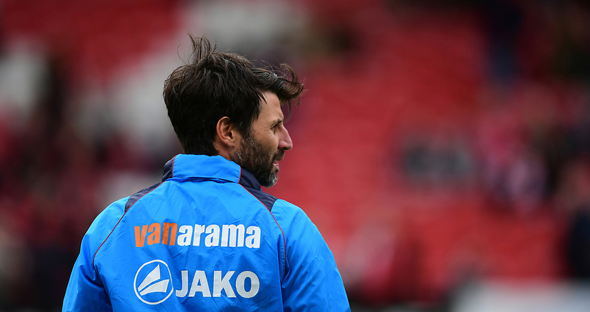 Lincoln City manager Danny Cowley during the pre-match warm-up <br /> <br /> Photographer Chris Vaughan/CameraSport<br /> <br /> Vanarama National League - Lincoln City v Torquay United - Friday 14th April 2016  - Sincil Bank - Lincoln<br /> <br /> World Copyright &copy; 2017 CameraSport. All rights reserved. 43 Linden Ave. Countesthorpe. Leicester. England. LE8 5PG - Tel: +44 (0) 116 277 4147 - admin@camerasport.com - www.camerasport.com