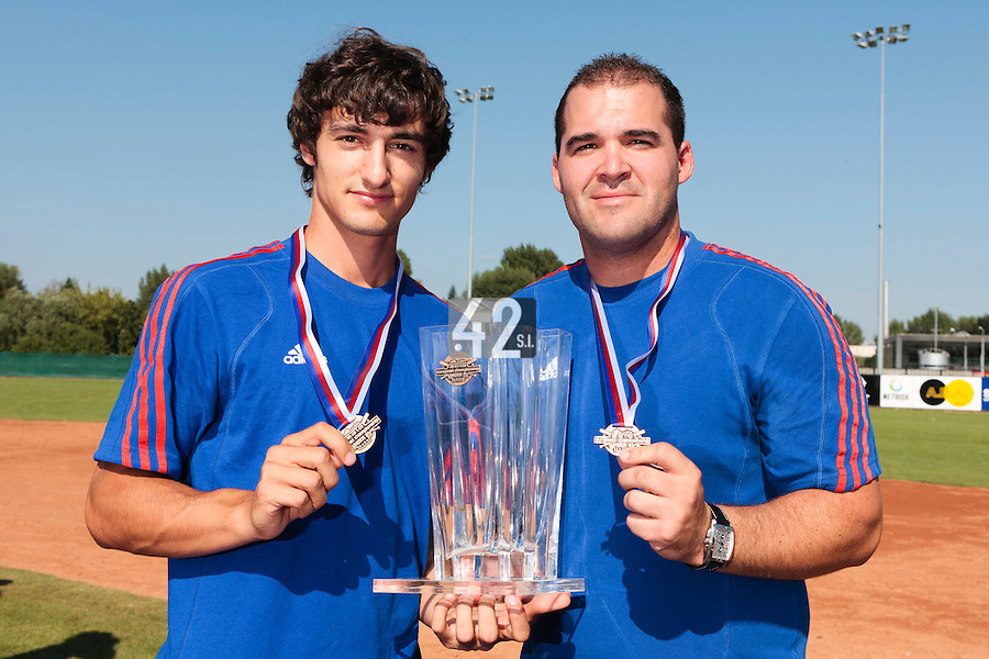 22 August 2010: Eloi Secleppe and Vincent Ferreira pose with the trophy at the 2010 European Championship, under 21, in Brno, Czech Republic.