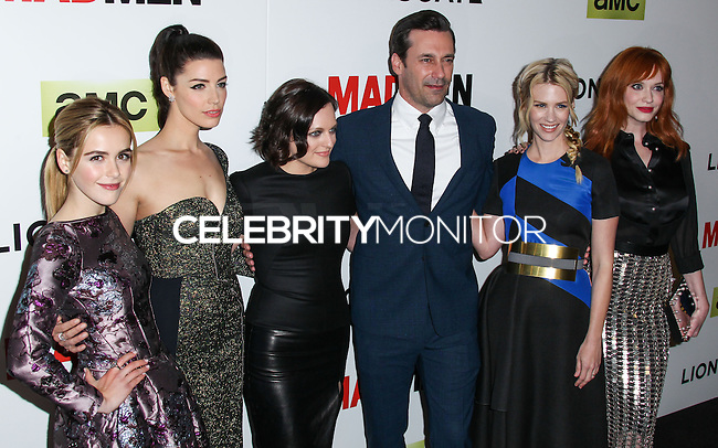 "HOLLYWOOD, LOS ANGELES, CA, USA - APRIL 02: Kiernan Shipka, Jessica Pare, Elisabeth Moss, Jon Hamm, January Jones, Christina Hendricks at the Los Angeles Premiere Of AMC's ""Mad Men"" Season 7 held at ArcLight Cinemas on April 2, 2014 in Hollywood, Los Angeles, California, United States. (Photo by Xavier Collin/Celebrity Monitor)"
