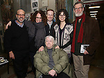 Larry Hirschhorn, Rebecca Taichman, Elizabeth Ireland McCann, Cody Lassen, Adina Verson and Tom Nelis with Cast of acclaimed Broadway-bound play 'Indecent' meet their Off-Broadway counterparts in 'God of Vengeance' at La Mama on January 10, 2017 in New York City.