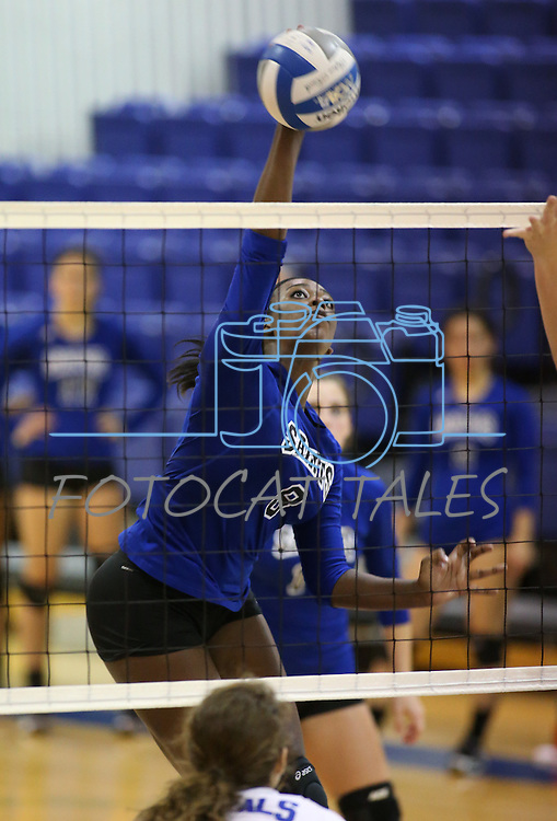 Marymount's Morgan McAlpin hits during a college volleyball match at Washington & Lee University Lexington, Vir., on Saturday, Oct. 5, 2013.<br /> Photo by Cathleen Allison