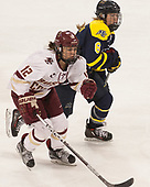 Kenzie Kent (BC - 12), Paige Voight (Merrimack - 6) - The number one seeded Boston College Eagles defeated the eight seeded Merrimack College Warriors 1-0 to sweep their Hockey East quarterfinal series on Friday, February 24, 2017, at Kelley Rink in Conte Forum in Chestnut Hill, Massachusetts.The number one seeded Boston College Eagles defeated the eight seeded Merrimack College Warriors 1-0 to sweep their Hockey East quarterfinal series on Friday, February 24, 2017, at Kelley Rink in Conte Forum in Chestnut Hill, Massachusetts.