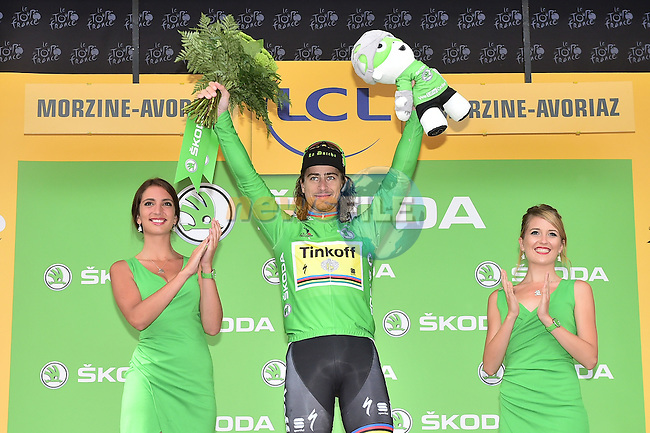 Peter Sagan (SVK) Tinkoff holds onto the Green Jersey on the podium at the end of Stage 20 of the 2016 Tour de France running 146.5km from Meg&egrave;ve to Morzine-Avoriaz, France. 23rd July 2016.<br /> Picture: ASO/A.Broadway | Newsfile<br /> <br /> <br /> All photos usage must carry mandatory copyright credit (&copy; Newsfile | ASO/A.Broadway)