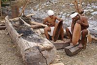 Maya wood carvers at the recreation of an ancient Mayan market, Sacred Mayan Journey 2011 event, Riviera Maya, Quintana Roo, Mexico