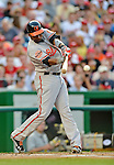 19 May 2012: Baltimore Orioles infielder Wilson Betemit in action against the Washington Nationals at Nationals Park in Washington, DC. The Orioles defeated the Nationals 6-5 in the second game of their 3-game series. Mandatory Credit: Ed Wolfstein Photo