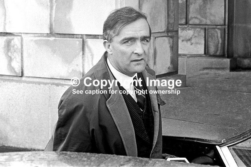 Desmond Boal, MP, Ulster Unionist, on arrival at Parliament Buildings, Stormont, Belfast, N Ireland, UK, September 1966. 196602000044b<br />