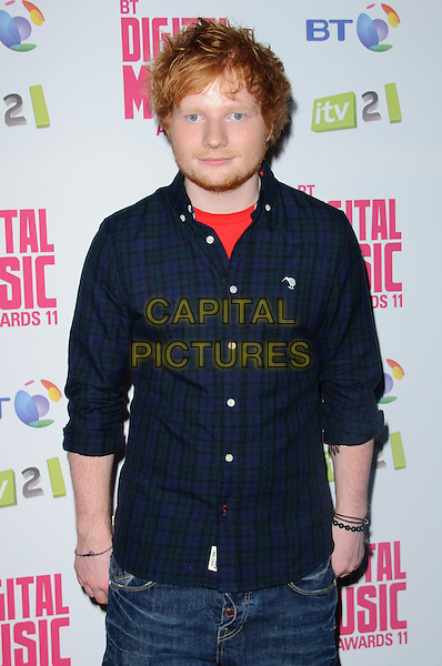 Ed Sheeran.BT Digital Music Awards held at the Roundhouse, Chalk Farm, London, England..September 29th 2011.half length black red beard facial hair blue shirt.CAP/CJ.©Chris Joseph/Capital Pictures.