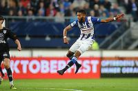 VOETBAL: HEERENVEEN: 23-10-2016, SC Heerenveen - Heracles, uitslag 3-1, Jeremiah St. Juste scoort de 3-1 op 1 voetbalschoen, ©foto Martin de Jong