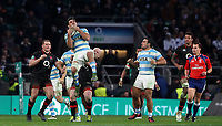Argentina's Pablo Matera takes a high ball<br /> <br /> Photographer Rachel Holborn/CameraSport<br /> <br /> International Rugby Union Friendly - Old Mutual Wealth Series Autumn Internationals 2017 - England v Argentina - Saturday 11th November 2017 - Twickenham Stadium - London<br /> <br /> World Copyright &copy; 2017 CameraSport. All rights reserved. 43 Linden Ave. Countesthorpe. Leicester. England. LE8 5PG - Tel: +44 (0) 116 277 4147 - admin@camerasport.com - www.camerasport.com
