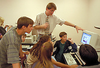 High school students with computers in classroom. High School Students. Rio Rancho New Mexico USA.