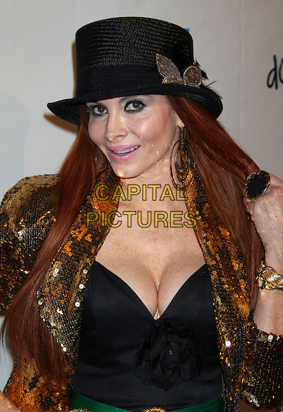 "Phoebe Price.""Life Happens"" Los Angeles Premiere held at the AMC Theater in Century City, Los Angeles, CA., USA..April 2nd, 2012.headshot portrait gold black top hat cleavage jacket gold sequins sequined.CAP/ADM/RE.©Russ Elliot/AdMedia/Capital Pictures."