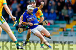Sean Nolan Kilmoyley in action against  Shane McElligott Lixnaw in the Kerry County Senior Hurling championship Final at Austin Stack Park on Sunday.