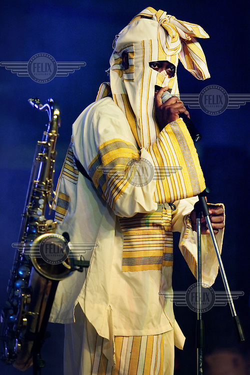 Lagbaja, a Nigerian Afrobeat musician who was born Bisade Ologunde, wears a mask, as always, during his performance.