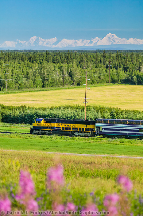 Alaska railroad passenger train, Alaska mountain range, University of Alaska experimental agricultural field, Fairbanks, Alaska