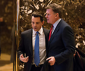 "CNBC ""Squawk Box"" Co-anchor Joe Kernen and Trump campaign financial advisor Anthony Scaramucci are seen in the lobby of Trump Tower in New York, NY, USA on December 16, 2016. <br /> Credit: Albin Lohr-Jones / Pool via CNP"