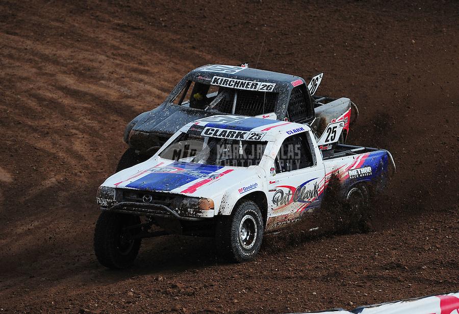 Mar. 20, 2011; Chandler, AZ, USA;  LOORRS superlite driver Patrick Clark leads Wyatt Kirchner during round two at Firebird International Raceway. Mandatory Credit: Mark J. Rebilas-