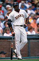SAN FRANCISCO, CA:  Barry Bonds of the San Francisco Giants stands in the on deck circle during a game at Pacific Bell Park in San Francisco, California in 2001. (Photo by Brad Mangin)
