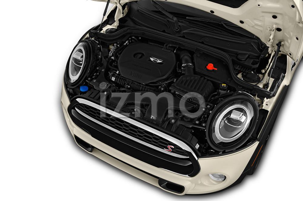 Car stock 2019 Mini Hardtop 4 Door Cooper S Signature 5 Door Hatchback engine high angle detail view